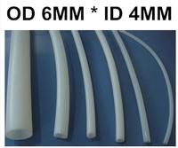 Free Shipping 10M OD 6mm ID 4mm white Industrial Material PTFE Teflon Tubes,F4,  Polytetrafluoroetylene, accept customized