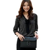 Fashion Sexy Women's 3/4 Sleeve V-Neck Bow Polka Dot Print Top Shirt Blouse Chiffon 37554