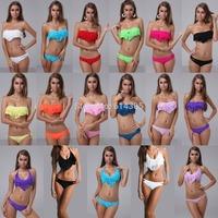 2014 New Sexy Women Ladies Bikini Fringe Tassel Swimsuit Boho Swimwear Padded Beachwear Push Up Beachsuit Halterneck BathingSuit