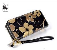 free shipping Knight paul 2014 new fashion women's wallet double zipper long design genuine leather female clutch women wallets