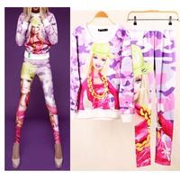 2014 3D Barbie Cartoon Print Hoodie Set Autumn & Winter Women's Leisure Suit Brand Designer Sport Suits High Quality WH-092