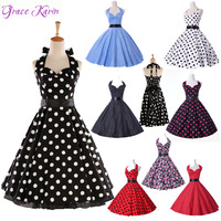 Fast Delivery 2014 Grace Karin Halter Cotton Casual Rockabilly Vintage Retro Short Wedding Party Ball Gown Prom Dresses GK4599
