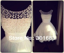 Real Pictures New Style Scooped Neckline Beaded Pearls Lace Short Wedding Dress(China (Mainland))
