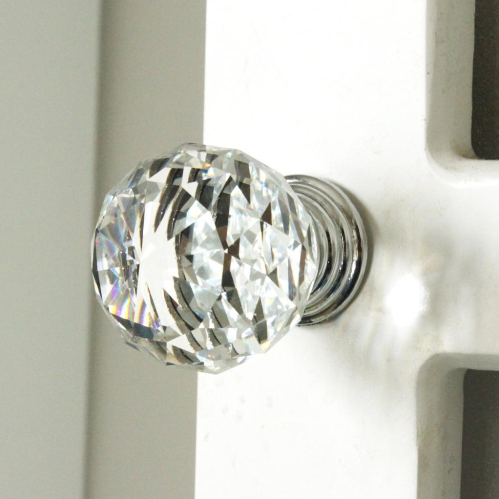 K9 Clear Crystal Knob Chrome Glitter knob kitchen cabinet knobs handles dresser cupboard door handles home decoration hardware(China (Mainland))