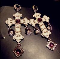 Baroque style big cross earrings vintage dangle earrings for women 2014 new fashion jewelry wholesale  free shipping