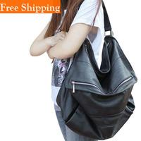 50CM Large Size Fashion Korean Style Womens Hot Celebrity Black High Quality Pu Brand Faux Leather Bag Totes Handbag Shoulder
