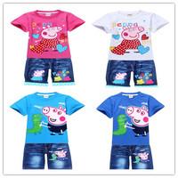 Baby Clothing Set Girl and Boy's Suit Sport Suit Children T shirts + Boys Shorts Conjuntos Boy Clothing Set Peppa Pig Clothing