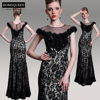 Dorisqueen free shipping hot sale in stock ready to wear black lace latest floor length beaded prom dress 2014 new arrival