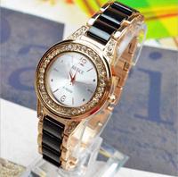 (Minimum order $ 10) 2014 new fashion Steel Band Rhinestone women gifts ceramic Quartz watches rose gold Dress Wrist watch