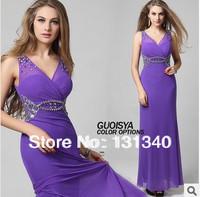 2014 Latest Designs Trumpet Sequins  Elastic Purple Evening Dress Free shipping