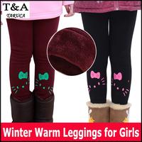 Girl legging children's winter snow clothing character kt cat design warm kids leggings for girls pants retail high quality