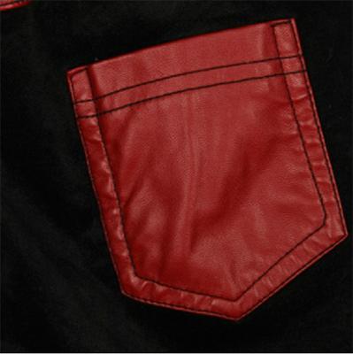 Женщины пурпурно-красная бабочка вышивка сращивание искусственная кожа карандаш брюки мода черный велюр все о матче тонкий поножи узкие брюки