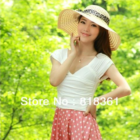 New 2014 Fashion Womens Straw Sun Hats Wide Brim Bowknot/Flower Floppy