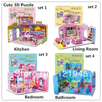 4sets/lot 2014 Hot Selling Puzzles Kids Educational Toys DIY 3D Puzzle paper For Children Adults House girls gifts H011-5/6/7/8