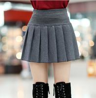 2014 Female Bust Skirt Pleated Skirts Autumn and Winter Short Skirt High Waist Plus Size Woolen Slim Hip Puff Skirts