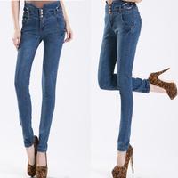 2013 Winter Pants Button Wash Elastic High Waist Denim Jeans Feet Pencil Big Size Trousers For women