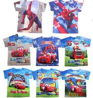 10 design 2014 Summer Hot Car boys t shirt cartoon t shirt short sleeve t-shirts for children Kids baby boys clothing