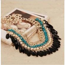 Layered Bohemian Tassels Fringe Drop Vintage Gold Choker Chain Neon Bib Statement Necklace  For Women necklaces & pendants(China (Mainland))