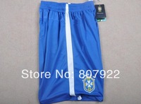 Embroidery Logo 2014!!! Brazil Home Blue Soccer Shorts,Thailand Quality Brazil Blue Shorts+Free Shipping