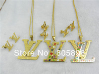 BGLS001 Free shipping Women Gift Eternity jewelry Fashion Jewelry 316L Stainless Steel Jewlery Set