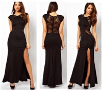 2014 Fashion  Elegant Womens' Classic Black O-Neck Lace Patchwork Empire Waist Slim Ankle-Length Evening Mermaid Party Dress