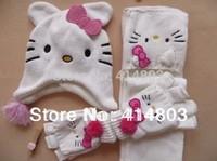 2014 New! 2-6Y Girls Winter Cat/Kitty 2-layer Fleece Hat Set, White Earflap Cap + Scarf + Glove 3PCS, RETAIL 2 colors