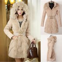 S-XXL,Large Fur Collar Hooded Winter Jacket Women Fashion Warm Wadded Coat Luxury Fur Padded Duck Down Long Jacket Beige Black