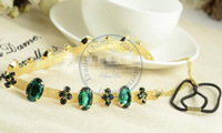green cystal shiny chain Hairband tie hair hand hoop tools Maker bangs forehead decoration head band  CN post