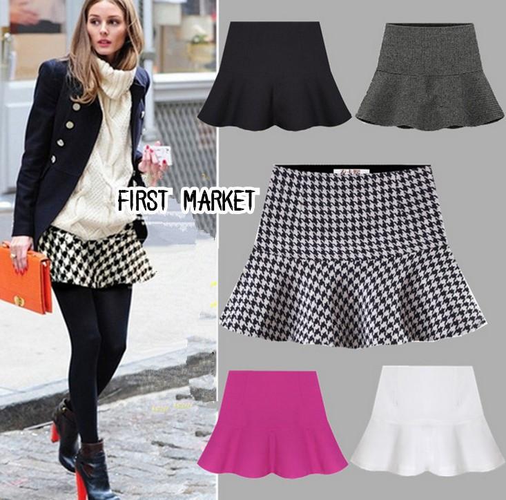 2014 New Fashion Women Spring Autumn and Winter OL Geometric Pattern Chiffon Ruffles Short Skirts ladies Ball Gown Skirt(China (Mainland))