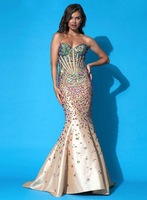Wonderful Mermaid Champagne Taffeta Crystal Rhinestone Dresses New Fashion Prom Dresses 2014