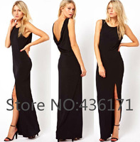 Free Shipping Back deep V-neck placketing pleated tank dress black full dress one-piece formal dress chiffon d34580