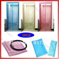 Free Shipping Fly Screen Door Magnetic Stripe Mesh Prevent Mosquito Net Pink, blue, green, brown,Rice yellow