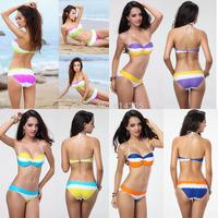 2PCS Wholesale Women Ladies Bikini Super Top Push Up Bra Swimsuit Padded Swimwear Strapless Beachwear Twist Bandeau Bathing Suit