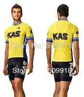 ropa ciclismo !!2014 Kas cycling jersey short sleeve+cycling bib short sets full length zip cycling/bicycle clothing+shorts kits