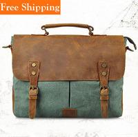 Men'S Vintage Canvas Leather Messenger Shoulder Bag Cattle Crazy Horse Leather Man Bag Fashion Real Cowhide Cross Body Handbag
