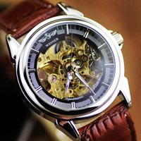 Winner Brand New Men Mechanical Self-wind Watch, Hollow Skeleton fashion Army Army Casual Leather Strap Men Watches