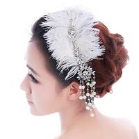 Colour bride hair accessory hair accessory feather princess rhinestone tassel married hair accessory pearl wedding accessories