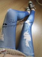 New 2014 Fashion False Hole Ninth Pant Imitation Jeans Leggings Pencil Pants Blue/Black