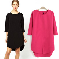2014 Spring Summer Fashion Women Dress Three Quarter Sleeve O-Neck Solid Color Lady Loose Dress Pullover Women Straight Dresses
