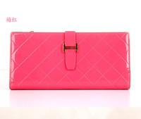Women wallet Golden letter Long PU Leather Card Holders Clips grid Hasp Buckle Open Wallets Clutch Case Purse Long Hand Bags