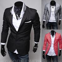 men's jacket New Arrival Hot fashion 2014 long blazer men,slim outdoorwear casual men suit /jacket 3 Colors XXL Wholesale&Retail