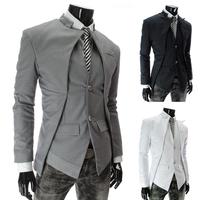 Men's Blazer Jacket New Brand Fashion 2014 Black/ White/Gray Slim Casual Male Blazer Suit Blaser Jackets Coat Plus Size