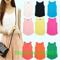 S-XXXL, 9 Colors Women Slim Fit Chiffon Blouses Top Vest Shirts Trendy Shirt, A1227