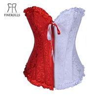 FINEROLLS  women bustier top overbust boned corset zipper + g string new 2013 western fashion corsets S M L XL XXL Free Shipping
