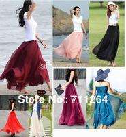 Women Pleated Retro Maxi Long Skirt Elastic WaistBand Chiffon Dance women evening skirt