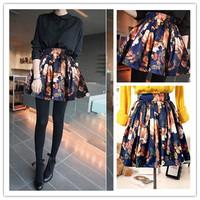1pc/lot Ladies Vogue European Retro Mini Skirts Spring Summer Floral Print Pleated High Waist Chiffon Skirt S/M/L ay653996