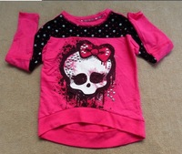 free shipping monster high girl girls long sleeve T-shirt cotton shirts top tops pink colour one piece