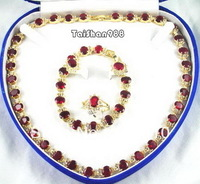 Red Cubic Zirconia Ruby 18KGP Crystal Necklace Bracelet Ring8 Earrings Set