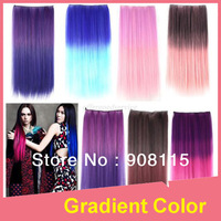 12 Colors Rainbow Gradient Color 25 inch Long Straight Synthetic Hair Extension 5 Clip in on