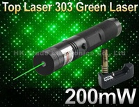Laser 303 200mW Green Laser Pointer Adjustable Focal Length and Star Pattern Filter+ 4000MAH 18650 Battery+ charger